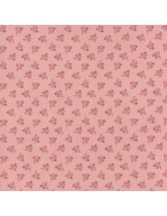 Tela patchwork rosa con flores rojas, Jardín de Versailles de French General