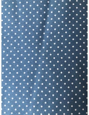 Tela patchwork azul  con lunares blancos pequeños American Country Collection de Masako De Lecien