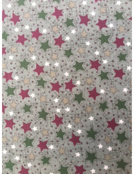Tela patchwork verde estrellas rojas, beis, verdes navidad Frosty Friends Lynette Anderson
