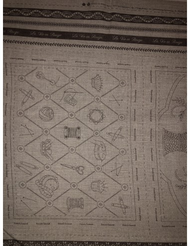 Panel lino bordado French General Gris sepia