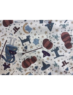 Tela patchwork beis dibujos Halloween Little Witchy Wonderland Lynette Anderson
