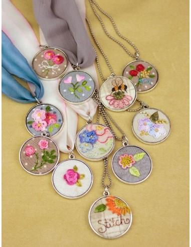 Patrón colgante embroidery necklaces Crabapple