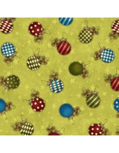 Tela verde bolas navidad by Leanne Anderson de The Whole Country Caboodle
