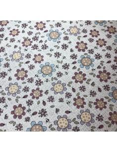Tela patchwork beis flores y abejas Sweet Garden of Mine´s de Lynette Anderson
