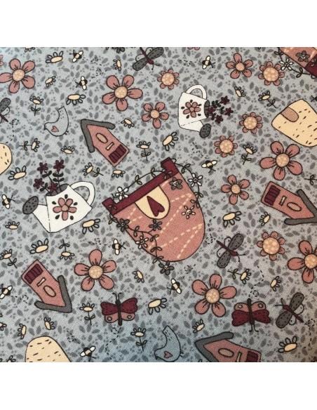 Tela patchwork azul dibujos Sweet Garden of Mine´s de Lynette Anderson