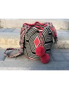 Bolso Wayuu auténtico rojo, negro y beis