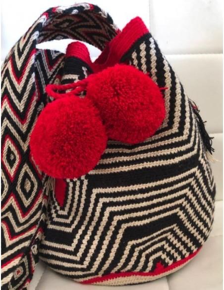 Bolso Wayuu auténtico araña negro, beis y turquesa