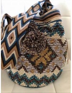 Bolso Wayuu auténtico beis calavera con pedreria