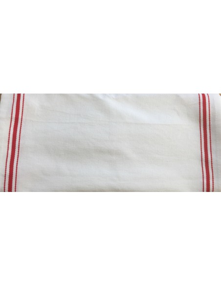 Tela cocina blanca rayas rojas para bordar corte a medida