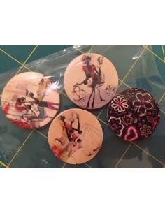 Pack de 4 botones madera slowlife