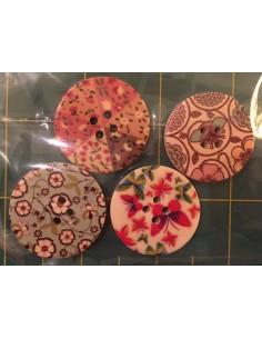 Pack de 4 botones madera patchwork