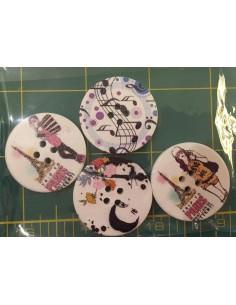 Pack de 4 botones madera moda