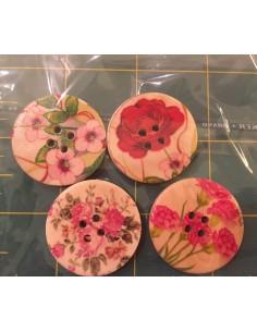 Pack de 4 botones madera flores