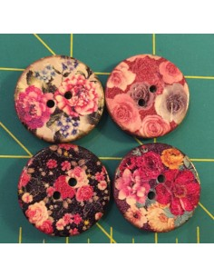 Pack de 4 botones coco medianos flores B